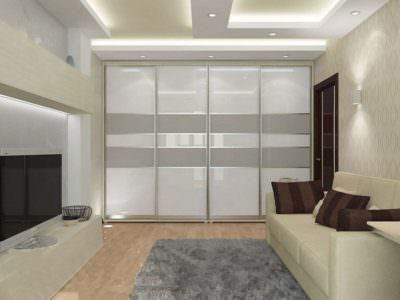 Шкаф-Купе в гостинную до потолка 4 двери Oracal