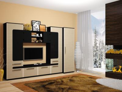 Стенка под ТВ черный матовый+ дерево